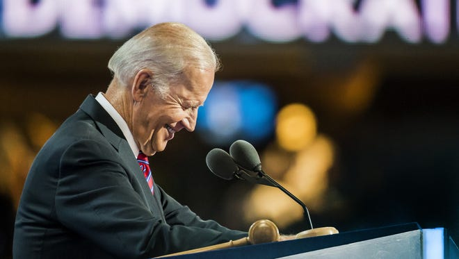 Vice President Joe Biden addresses the Democratic National Convention in Philadelphia on July 27. Biden recently officiated the same-sex marriage of two longtime White House staffers.
