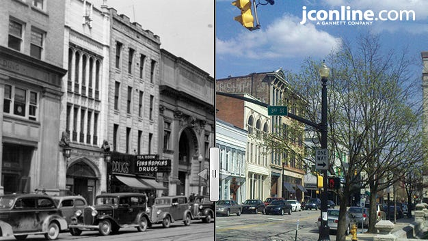 A look back in time from the corner Main and Third streets, 1940 compared to 2014.