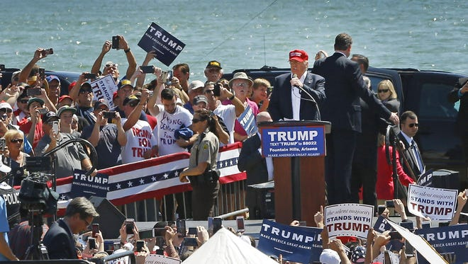 Presidential candidate Donald Trump speaks to his supporters on March 19, 2016. in Fountain Hills.