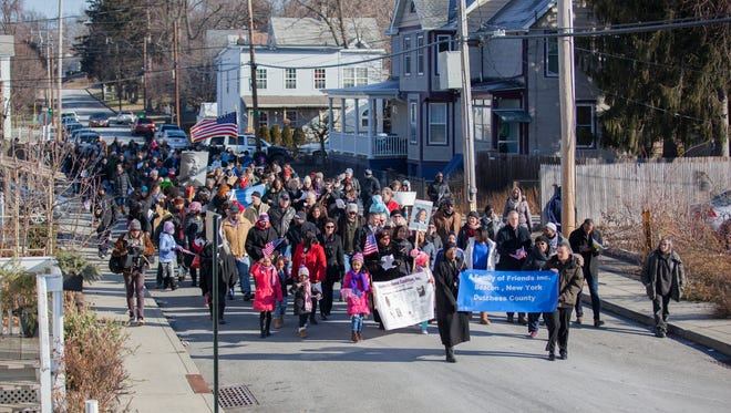 Residents from around Dutchess County gather at the Springfield Baptist Church and march in the MLK day parade in Beacon, Jan. 16, 2017