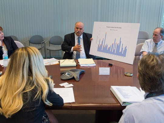 Bubba Wade (center), senior vice president for corporate strategy and business development at U.S. Sugar, talks with the Treasure Coast Newspapers Editorial Board on Wednesday about Lake Okeechobee water issues at the Stuart News in Stuart. Judy Sanchez (left), U.S. Sugar's senior director for corporate communications and public affairs, and Tom MacVicar (right), a consultant and former staffer at the South Florida Water Management District, came with Wade to answer questions from the board. (MOLLY BARTELS/TREASURE COAST NEWSPAPERS)