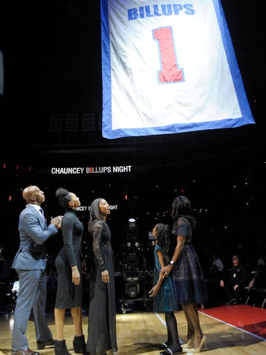 Former Pistons guard Chauncey Billups and his family