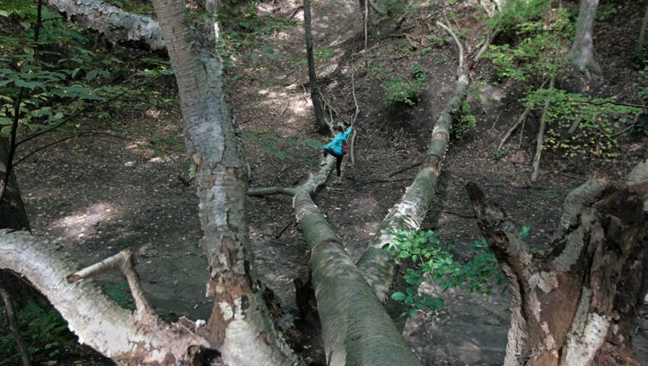 Outdoors writer Victoria Freile high steps over blow