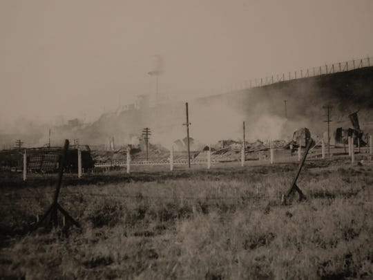 The smoldering aftermath of the Canadian Car and Foundry fire in Lyndhurst in 1917.