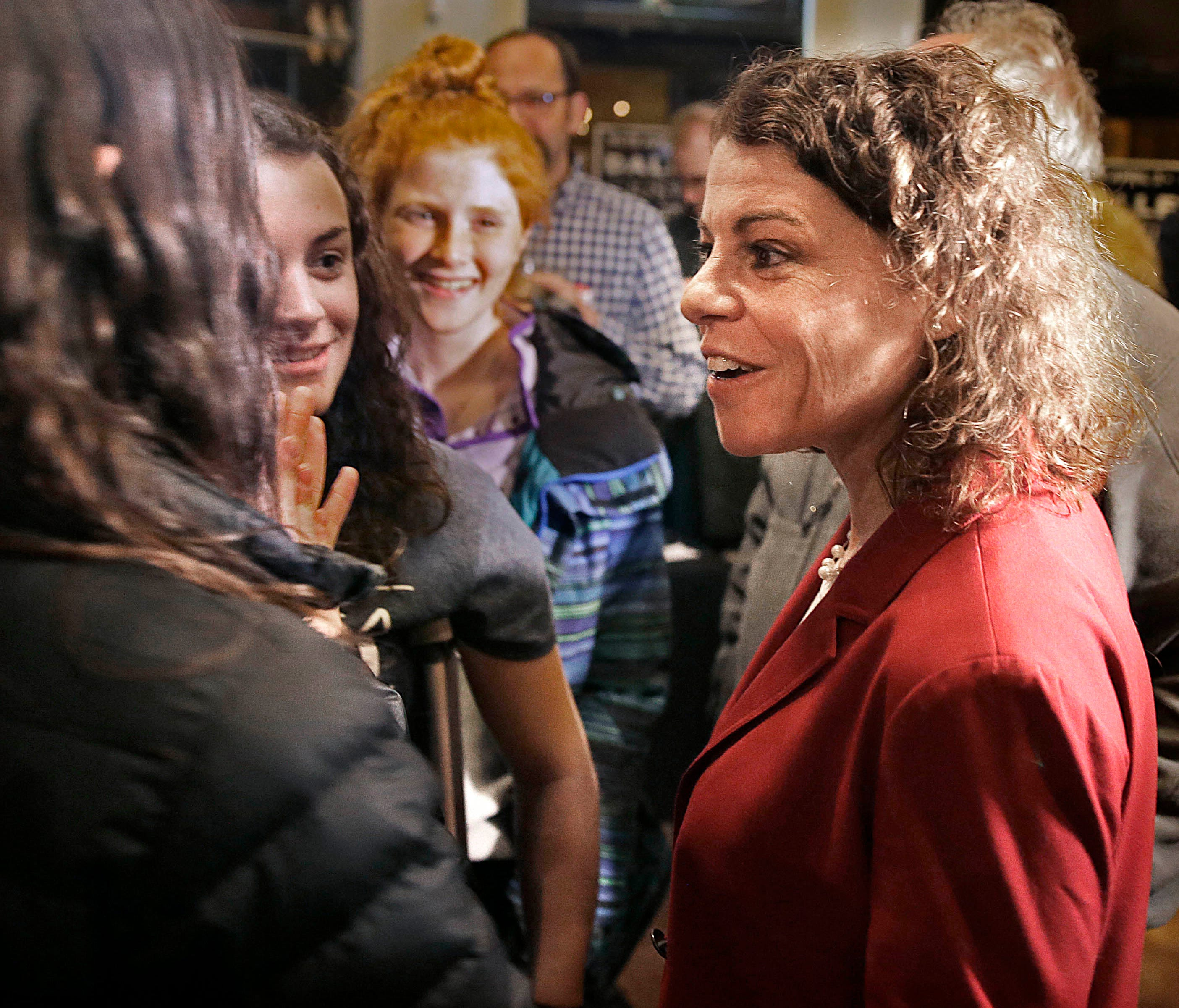 Wisconsin Supreme Court candidate Judge Rebecca Dallet greets supporters as they watch returns on election night at Good City Brewing in Milwaukee. Dallet is challenging  Sauk County Judge Michael Screnock for a spot on the Wisconsin Supreme Court. T