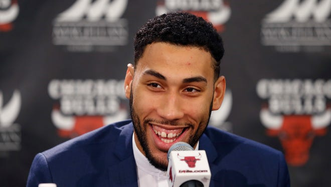 Chicago Bulls' first round draft pick Denzel Valentine, from Michigan State University,  smiles during an NBA basketball news conference where the team introduced him Monday, June 27, 2016, in Chicago.