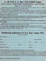 An application form for the Kodak Park Activities Association's boys softball league from 1965.
