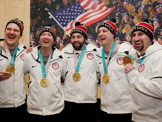 The United States Men's Curling Gold Medalists Matt Hamilton  John Shuster, John Landsteiner, Tyler George and Joe Polo on February 24, 2018 in Pyeongchang-gun, South Korea.