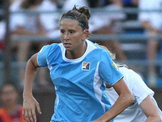 Carolyn Blank plays for the Sky Blue FC in 2008.