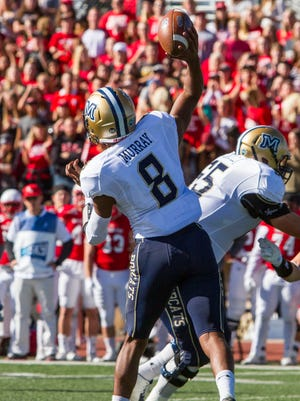 Montana State quarterback Chris Murray (8) attempts a pass during the first quarter of Saturday's game against Southern Utah in Cedar City, Utah, Nov. 5, 2016.