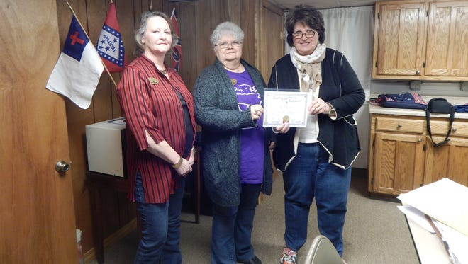 The Shawneetown Chapter 2706 of The United Daughters of the Confederacy of Yellville,welcomed their newest member, Janice Duffy of Yellville. Duffy was presented with her membership papers at February's monthly meeting. Shown, from left, Bonnie Vaughn, chapter registrar, Virginia Griffin, chapter president, and Duffy. If anyone is interested in joining the chapter, they meet at 1 p.m. on the first Saturday of the month in the basement of the Main Street Church of Christ in Yellville. For more information, call (870) 404-1501.