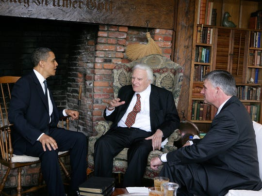 President Obama meet with Rev. Billy Graham at the evangelist's home along with Graham's son and successor Rev. Franklin Graham, right.