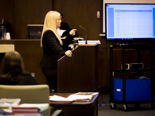 Prosecutors explain their closing arguments to the jury during the murder trial of Lisa Troemner at the Collier County Courthouse early Thursday, Feb. 9, 2018 in Naples. Troemner, 27, faces a charge of second-degree murder in the killing of Trevor Smith, 30, in the Marco Island condo they shared during an argument Dec. 2, 2014.