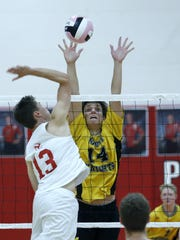 Penfield's Andy Scott and McQuaid's Christian Pawelek battle in a match on Sept. 29, 2016.