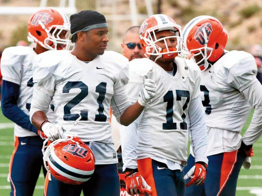 UTEP junior defensive back Dashone Smith, front left, rests in between drills during Wednesday's practice at Glory Field. Smith had a team-high seven tackles in Saturday's game against Arkansas.