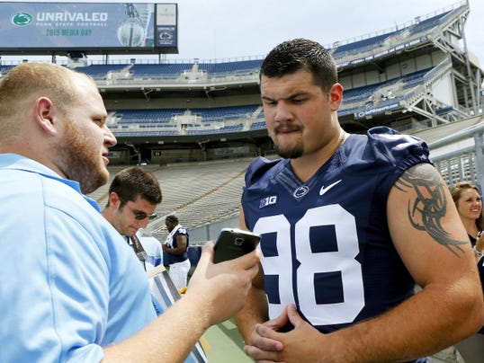 Defensive tackle Anthony Zettel, seen here during Penn State's media day, is a stud on the field and a character off the field.