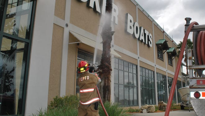 A San Carlos PArk Fire Department firefighter douses a palm tree that caught fire at the Bass Prop Shops in Gulf Coast Town Center today.