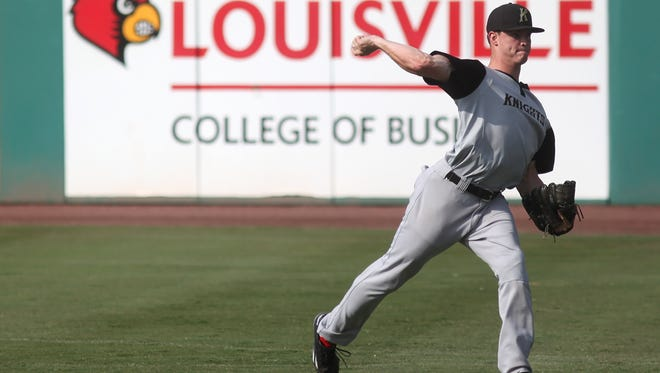 Former Louisville Cardinals' pitcher Zack Burdi, who currently plays for the Charlotte Knights, gets ready for a game against the Louisville Bats.
