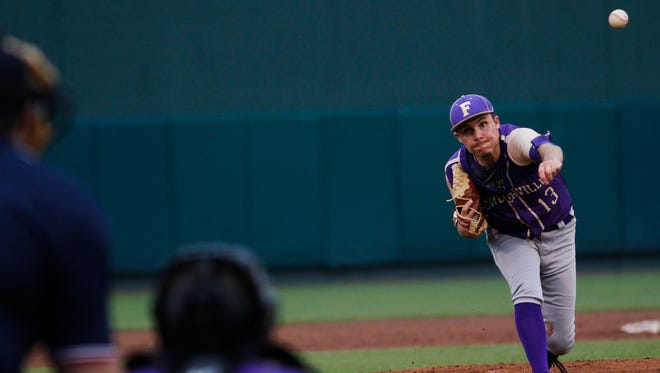 Fowlerville senior pitcher Eric Fritz throws against Lakewood Tuesday, May 23, 2017, during the Diamond Classic at Cooley Law Stadium.  Fowlerville won 10-0.