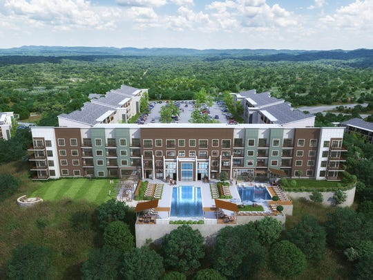 A rendering of the Bells Bluff Apartments that The Beach Co. plans on Cabot Drive in West Nashville