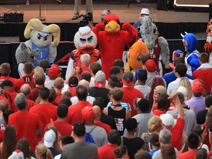 The ACC Mascots at Fourth Street Live. July 1, 2014