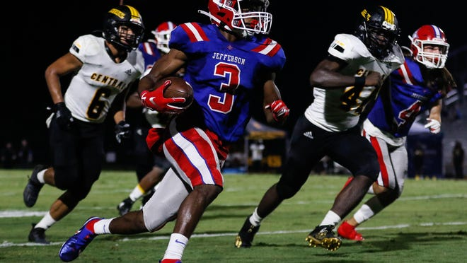 Scenes from a GHSA high school football game between Jefferson and Central Gwinnett in Jefferson, Ga., on Friday, Sept. 11, 2020. The Jefferson Dragons won, 61 - 7.