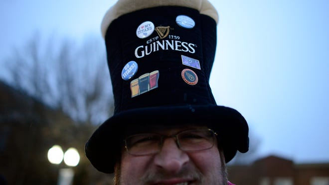 Brandon Ruck's drinking hat earns praise at the 2017 Main Street BrewFest in Franklin. This year's festivities are set for 5-8 p.m. Saturday, March 17,  on Franklin's downtown square.