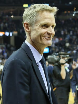 Apr 9, 2016: Golden State Warriors head coach Steve Kerr looks on after the game against the Memphis Grizzlies at FedExForum. The Warriors won 100-99.