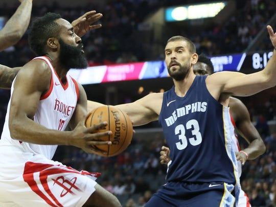 Oct 28, 2017; Houston Rockets guard James Harden (13) prepares to shoot the ball as Memphis Grizzlies center Marc Gasol (33) defends in the first quarter at FedExForum.