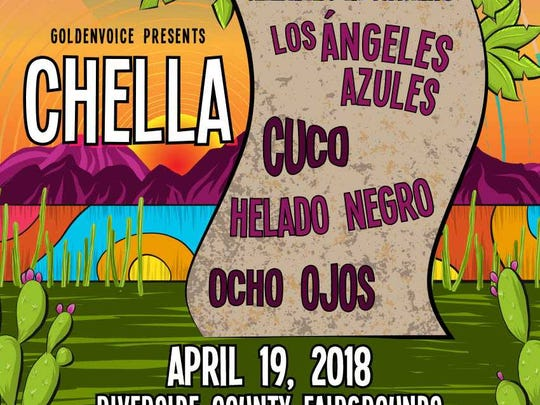Poster for Chella, a concert featuring all Latino acts, presented by Goldenvoice on April 19 at Riverside County Fairgrounds.