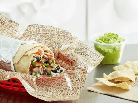 A burrito, nachos and guacamole offered at Chipotle's.