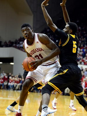 Indiana Hoosiers center Thomas Bryant (31) looks for a shot past Kennesaw State Owls forward Bernard Morena (5) during the first period of the game at Assembly Hall.
