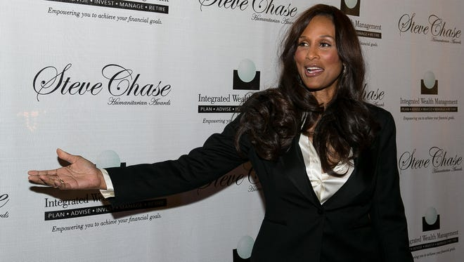 Super model Beverly Johnson arrives at the Desert AIDS Project Steve Chase Humanitarian Awards gala held at the Palm Springs Convention Center on Saturday evening, February 9, 2013.