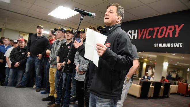 St. Cloud State wrestling head coach Steve Costanzo speaks during a celebration held Wednesday, March 14, to honor the team for their third NCAA Division II championship in four years.