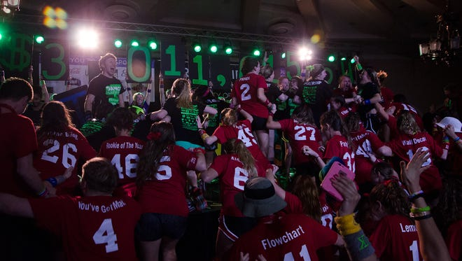 Dancers celebrate fundraising over $3 million at the 24th annual Big Event on Saturday, Feb. 3, 2018 at the IMU.