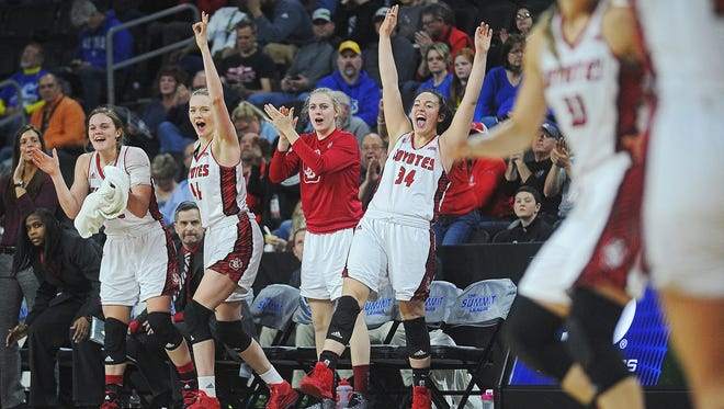 USD players react from the bench during a Summit League women's basketball tournament semifinal game against Oral Roberts Monday, March 7, 2016, at the Denny Sanford Premier Center in Sioux Falls.