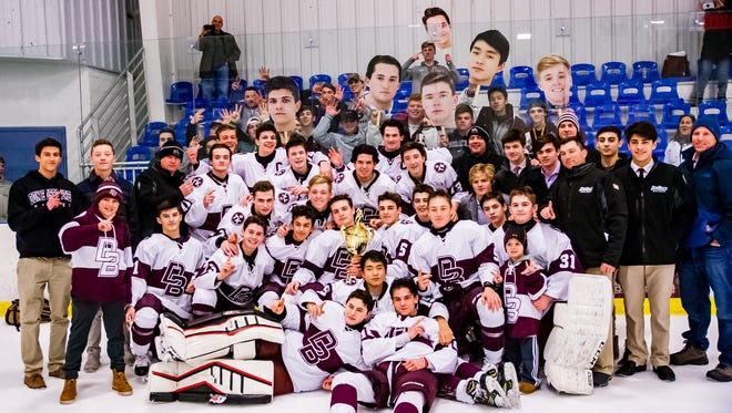 Bergen County Ice Hockey Tournament Finals. Don Bosco poses after beating Indian Hills, 6-1 on Wednesday, Jan. 17, 2018. The win marked the seventh straight county title for the Ironmen.