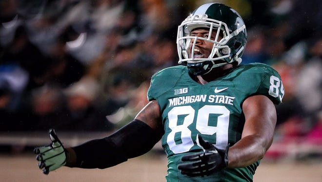 Oct 4, 2014; East Lansing, MI, USA; Michigan State Spartans defensive end Shilique Calhoun (89) reacts to a play during the 2nd half of a game at Spartan Stadium. Mandatory Credit: MSU won 27-22. Mike Carter-USA TODAY Sports