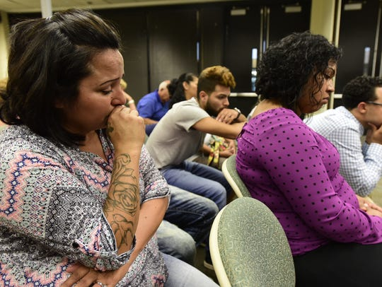 From left, Elijah Arriaga's grandmother Yolanda Traylor, uncle Isaih Arriaga, mother Ashlie Arriaga and Talib Garret, during the 2016 trial, listen to a recording of the defendant Chantal Thoss describe the baby's injuries to Clyde police detective Brian Weaver.