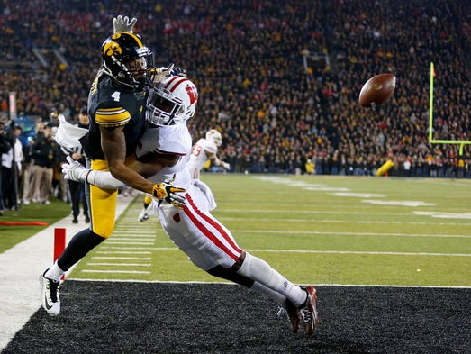 Iowa's Tevaun Smith draws a pass interference penalty
