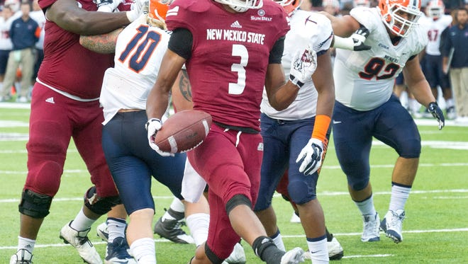 New Mexico State running back Larry Rose III is second in the Sun Belt Conference in rushing with 121 yards per game.