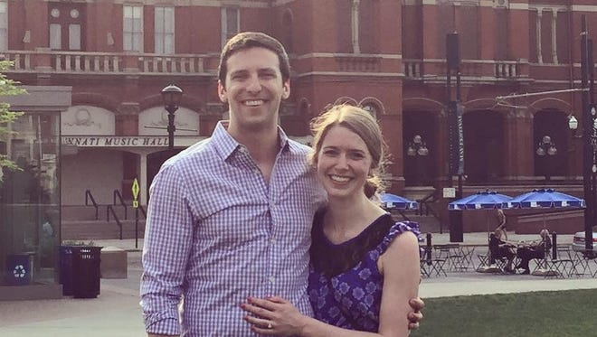 P.G. Sittenfeld and Sarah Coyne, after getting engaged in May 2015