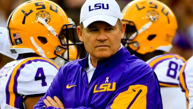 LSU Tigers head coach Les Miles before a game against the Florida Gators at Tiger Stadium.
