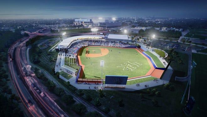 Rendering of UK's new $49 million baseball stadium.
