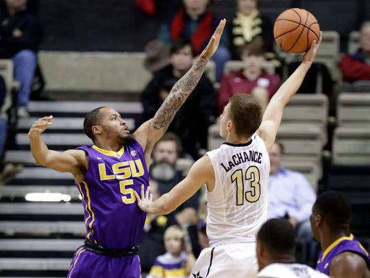 Vanderbilt guard Riley LaChance shoots against LSU