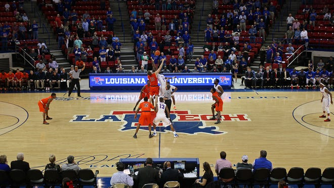 Pictured is the tipoff from Louisiana Tech's home game with UTEP from this season. The Bulldogs are averaging just 3,593 fans per game through 13 contests.