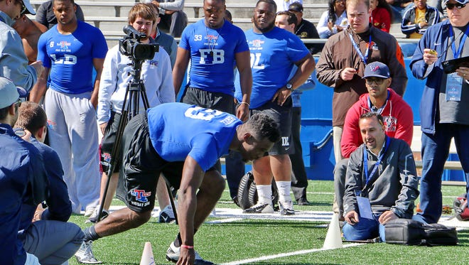 Louisiana Tech's Kentrell Brice lines up for an agility drill during last month's pro day. The Ruston native signed with the Packers on Saturday.
