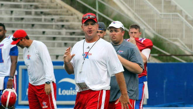 Louisiana Tech football coach Skip Holtz is pictured during the Bulldogs' scrimmage this past weekend.