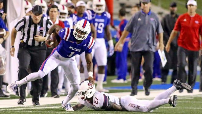 Louisiana Tech wide receiver Carlos Henderson makes a play down field in Saturday's win over South Carolina State.