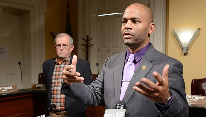 """Jackson City Councilman De'Keither Stamps, foreground, says the council should have more """"offline"""" conversations, rather than hashing out details in public meetings."""